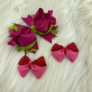 Other - Grosgrain head bow set pink, red and green